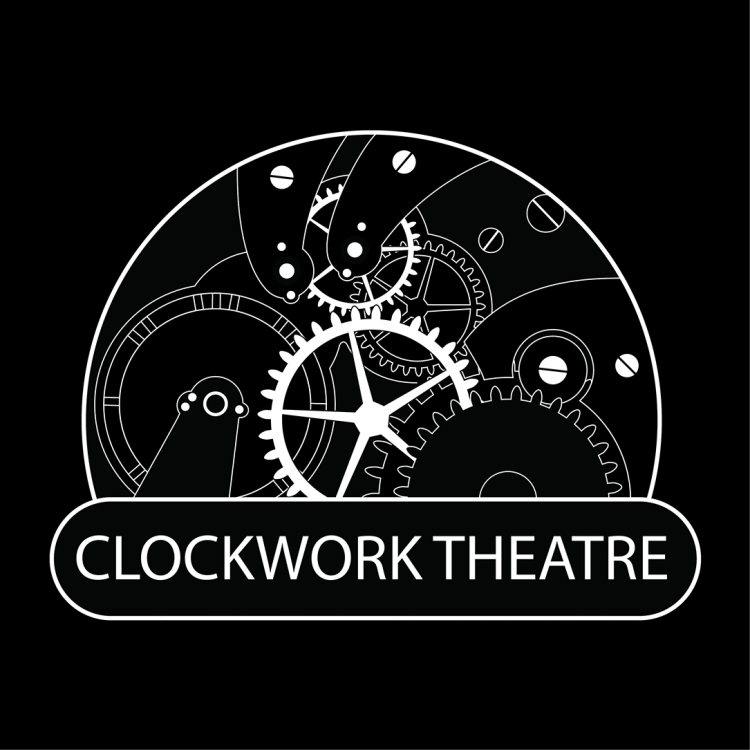 """Company logo. Black and white line art drawing of the inner workings of a lock, above the words """"Clockwork Theatre"""""""