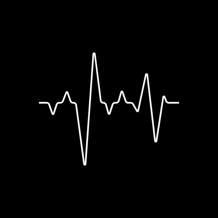 Black and white line art drawing of a heart beat on a heart monitor, creating the vague shape of a skyline.