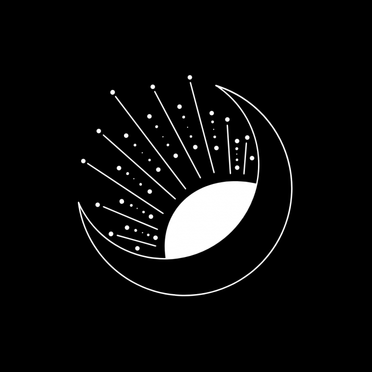 Black and white line art drawing of a crescent moon with a sun poking out from behind it.