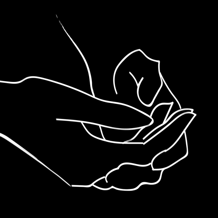 Black and white line art drawing of hands clasped together.